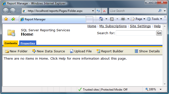 Report Manager - IE Trusted Sites